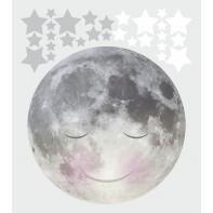 Naklejka księżyc z białymi i szarymi gwiazdkami