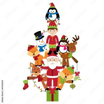 Wektorowa choinka z Święty Mikołaj, elfem i zwierzętami #67345244 -  Postacie z bajek dla dzieci - Plakaty | ecowall24.pl