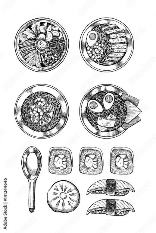 Ręcznie Rysowane Ilustracje Wektorowe Kuchnia Azjatycka