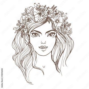 Ilustracji Wektorowych ładna Dziewczyna Z Wiankiem Kwiaty Portret Dziewczynki 118196838 Dla Dzieci Obrazy Na Płótnie Ecowall24 Pl