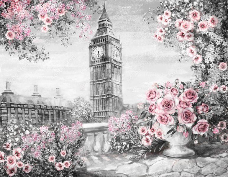 94d2b3519997e7 Obraz olejny, lato w Londynie. delikatny krajobraz miasta. kwiat róża i  liść. Widok z balkonu. Big Ben, Anglia, tapeta. akwarela sztuka współczesna.  Szary ...