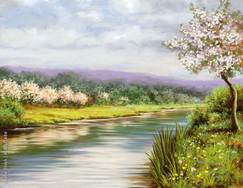 Inteligentny Wiosna, malarstwo pejzażowe, rzeka, sztuka #138571486 - Krajobrazy TR14