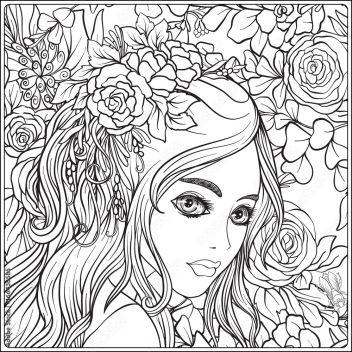 Młoda Piękna Dziewczyna Z Wiankiem Kwiaty Na Głowie Na Tle Motywu Kwiatowego Zarys Strony Kolorowanki Rysunek Dla Kolorowanka Dla Dorosłych 166438585 Dla Dzieci Obrazy Na Płótnie Ecowall24 Pl
