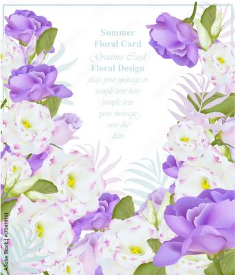 Summer Watercolor Flowers Vector Beauty Invitation Card