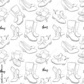 ilustracja ręcznie rysowane szkic wzór butów. Trampki, buty