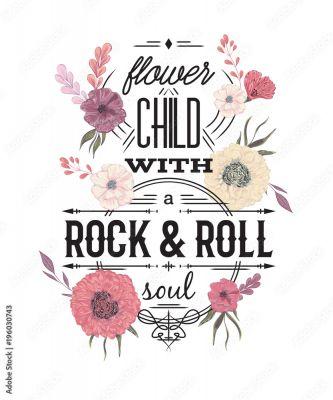 Typografia Plakat Z Kwiatami W Stylu Przypominającym