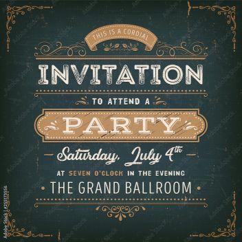 Vintage Party Invitation Card Na Chalkboard Ilustracja
