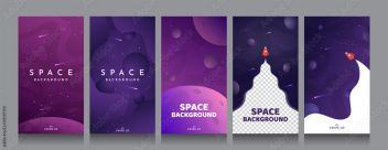 Vector Flat Illustration With Copy Space Cosmos Exploration