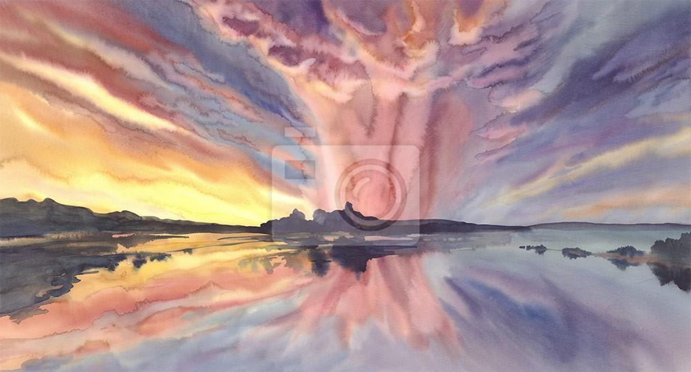 Jasny zachód słońca nad jeziorem w akwareli