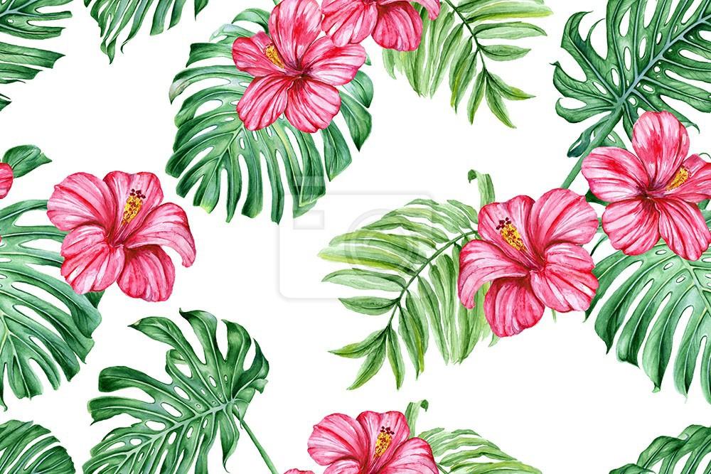 Kwiat Hibiskusa i tropikalne liście. Wzór akwareli
