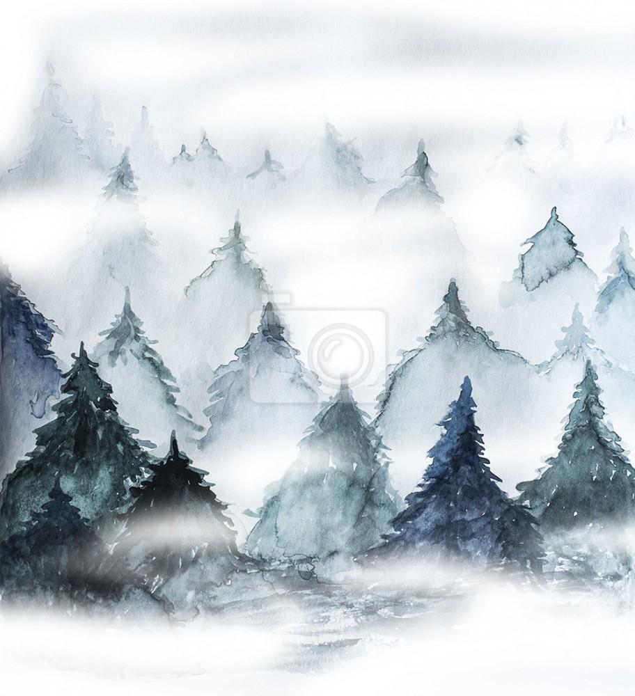 Mglisty las w akwareli. Motyw natury