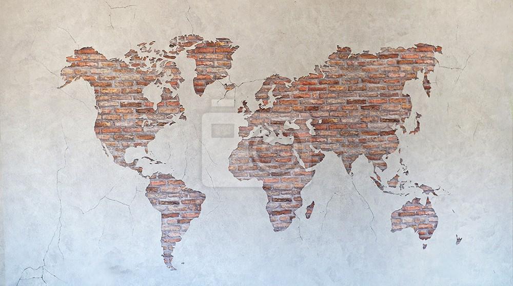 Mapa świata cegła