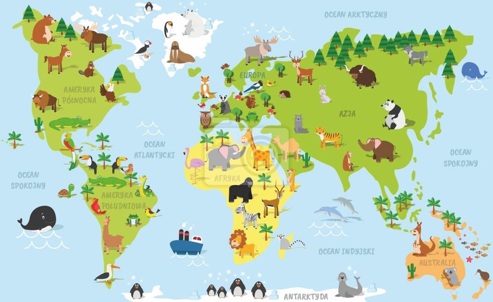 Polska mapa świata zwierzątek po POLSKU