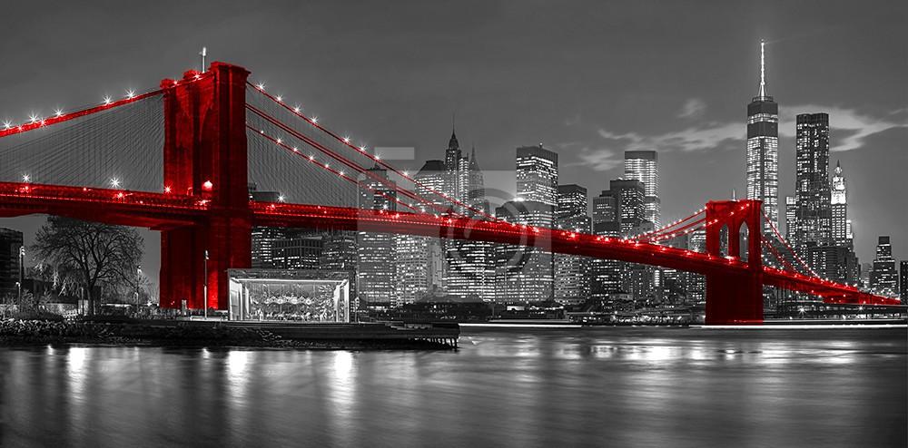 Most New Jork z czerwonym akcentem