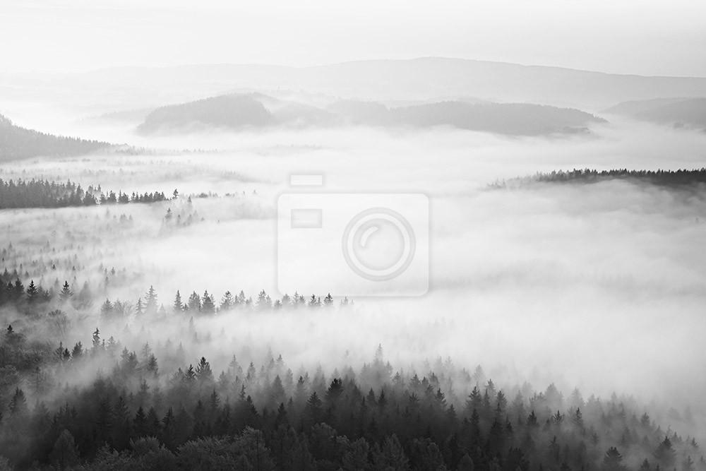 Jesienny wschód słońca w uroczej górze w inwersji. Szczyty wzgórz, las we mgle