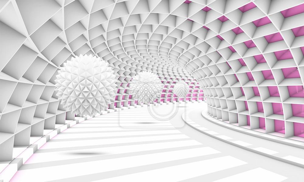 Szpiczaste kule w tunelu z różową tonacją