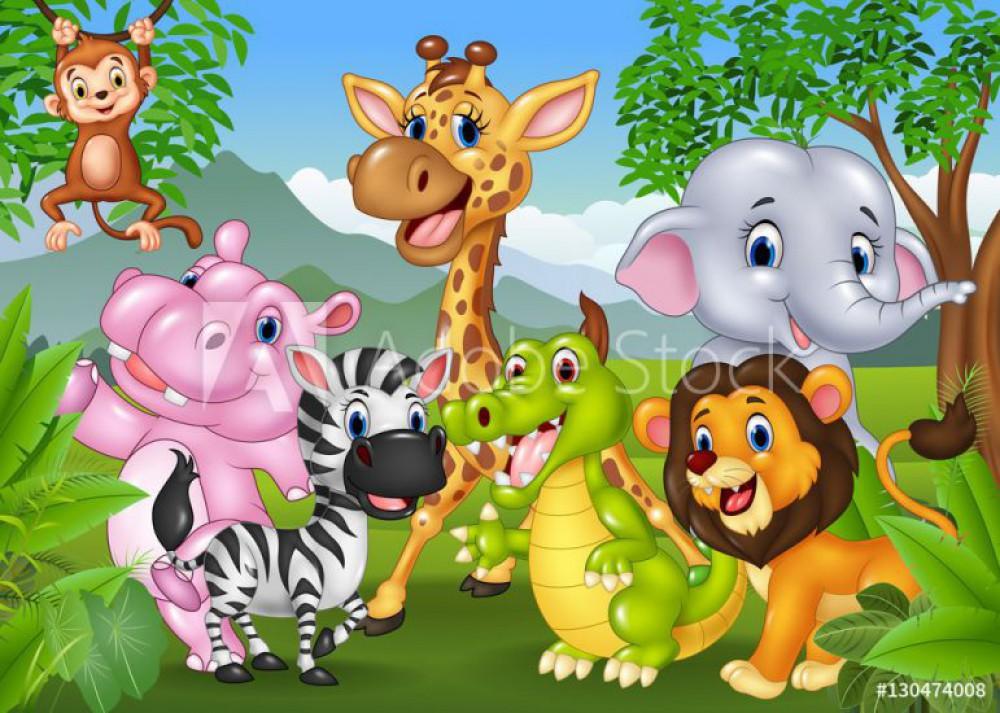 Kreskówka dzikie zwierzęta w dżungli