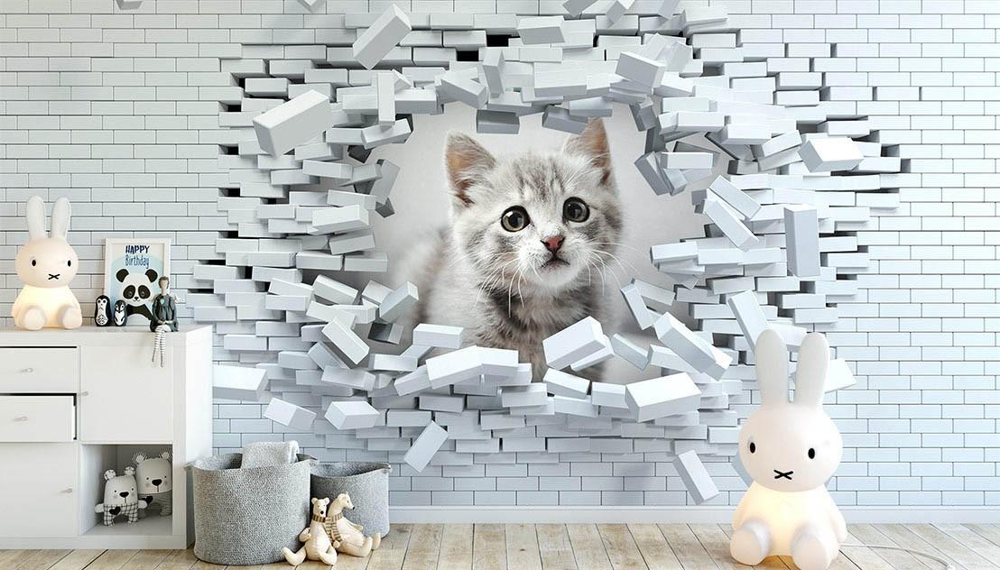 Mały śliczny kotek w 3d cegle