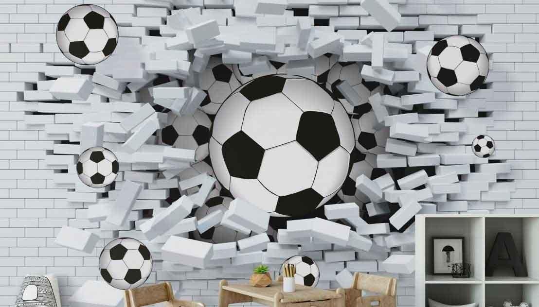 Fototapeta 3D Piłki w białej cegle