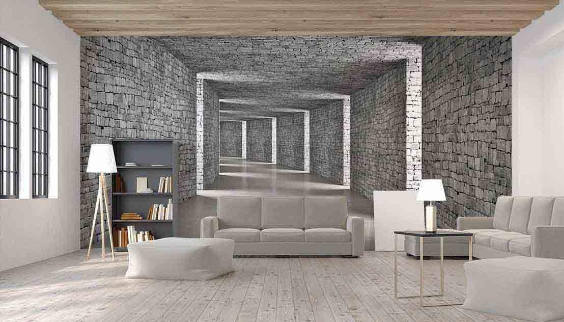 Abstrakcyjny tunel 3D w cegły